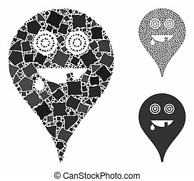 Maniac smiley map marker Composition Icon of Unequal Pieces