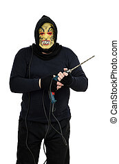 Maniac in a mask threatens with big drill on white background