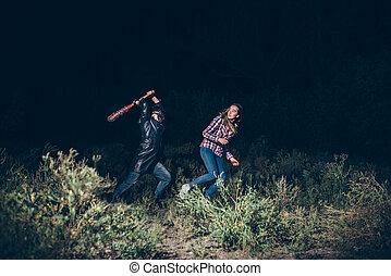 Maniac with bloody baseball bat try to kill victim