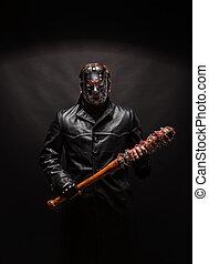 maniaque, manteau cuir, masque, sanglant, noir