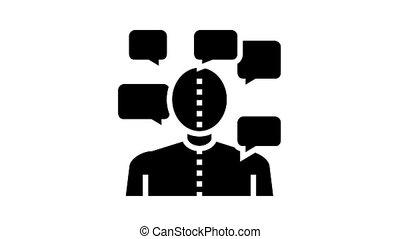 manic-depression psychological disease animated glyph icon. manic-depression psychological disease sign. isolated on white background
