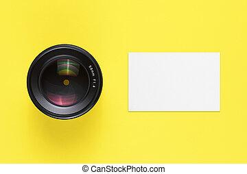 manichino, affari, cima, lente, macchina fotografica, scheda, vista