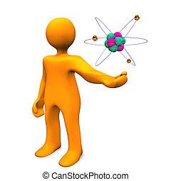 manichino, con, atomo