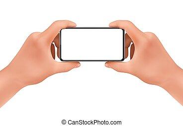 manichino, realistico, vettore, tenere mani, smartphone, 3d