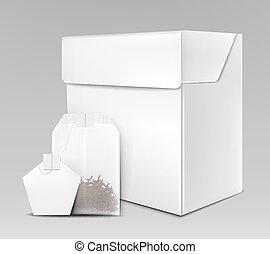 manichino, tè, imballaggio, realistico, vettore, nero, 3d