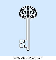 manico, come, astratto, vettore, brain., chiave