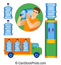 manico, due, acqua, senza, gallone, bottiglie
