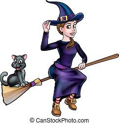 manico scopa, volare, strega, gatto