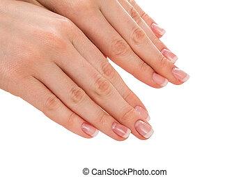 manicura francesa, manos