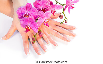 manicure and orchid on white