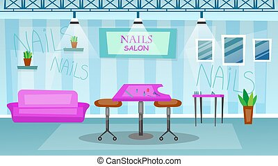 Manicure and pedicure salon interior concept. Empty Beauty Salon Interior With Tools And Furniture. Cartoon Flat style. Vector illustration