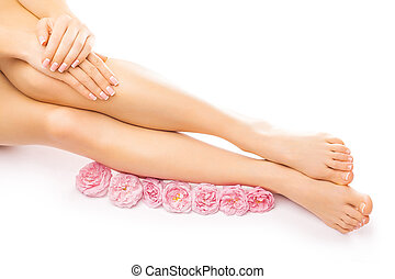 manicure, bloem, pedicure, rose kwam op