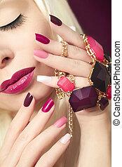 manicure., borgoña, multicolor