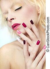 manicure., borgonha, multi-colorido