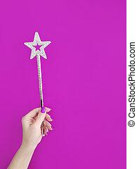 manicure, cor, estrela, mão, papel, segurando