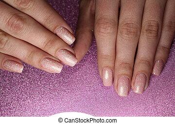 Manicure design, color coffe with sparkles