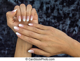 Manicure design french Ombre peach and white - Beautiful...