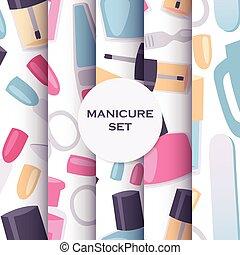 manicure, e, pedicure, ferramentas, seamless, padrão, jogo,...