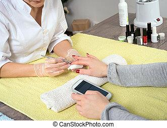 manicure, e, telefono