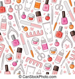 Manicure equipment vector seamless pattern