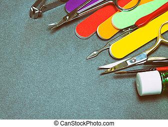 manicure, ferramentas, com, espaço cópia