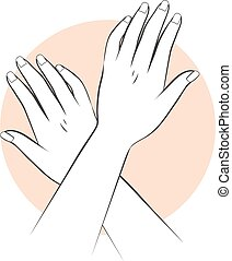 Manicure Hands Care - Stylized illustration of female hands ...