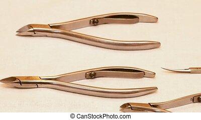 Manicure in the beauty salon. Spa nails cuticle scarfskin procedure.