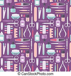 Manicure instruments vector set cartoon style seamless pattern