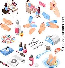 Manicure Isometric Icons Set