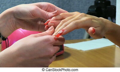 Manicure making. Nice manicured woman palms