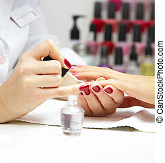 manicure - Manicure process... Female hands...