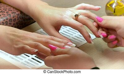Manicure. Nail salon. Massage