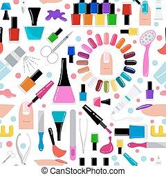 Manicure, nail. Seamless pattern - Manicure, nail care....