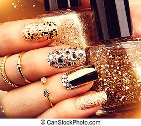 manicure, nailpolish, sparkles., złoty, modny, klejnoty, butelka, przybory