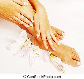 manicure, pedicure, com, flor, lírio, cima, isolado, branco,...