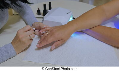 Manicure process concept. UV, Led lamp
