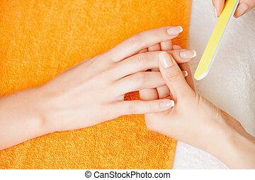 manicure, processo, su, femmina porge