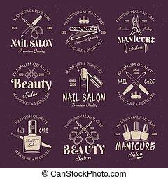 manicure, salão, jogo, de, vetorial, colorido, emblemas