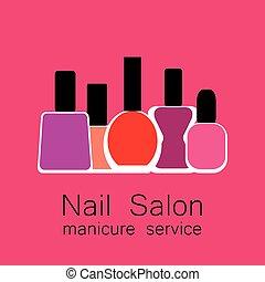 manicure, salon, spijker
