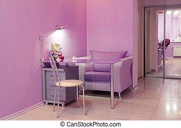 manicure, stanza, in, uno, moderno, salone bellezza