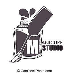 Manicure studio bottle with brush and paint splashes ...