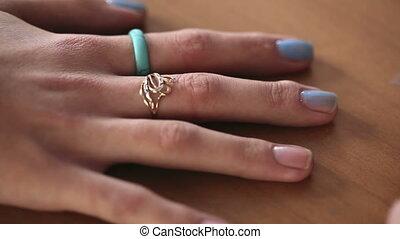 Manicure - Visagist making manicure to a model.