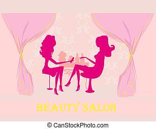 manicure, w, salon piękna