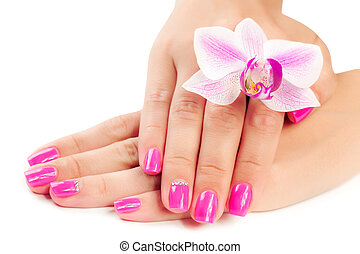 manicure with orchid flower. isolated