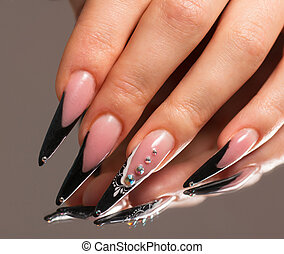 Manicure with reflection in the mirror