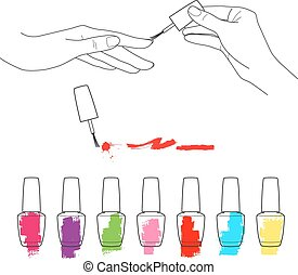 Manicure, womens hands with manicure holding nail polish, the palette of nail polish vector set