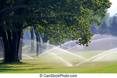golf course gets irrigated - manicured golf course gets...