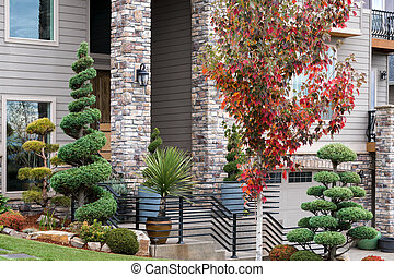 Manicured House Front Yard with Topiary