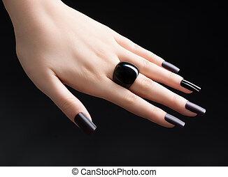 Manicured Nail with Black Matte Nail Polish. Fashion...