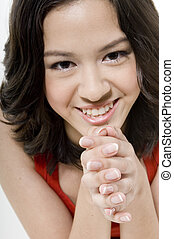 Manicured Nails - A pretty young woman with a good set of...